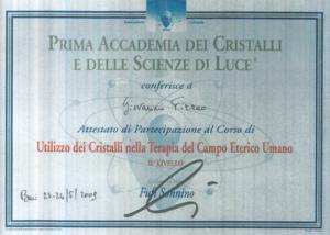 Certificazione Cristalloterapia