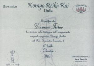 Certificazione Komyo Reiki
