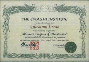 Certificazione Ohashiatsu